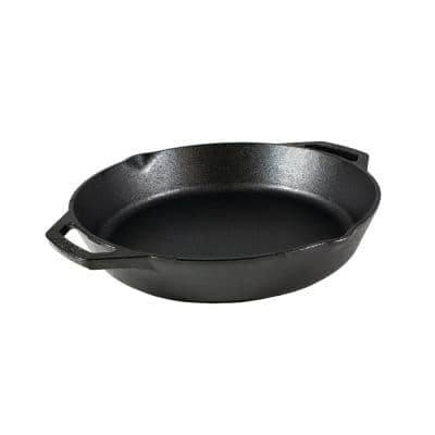 12 in. Cast Iron Skillet in Black with Dual Handles
