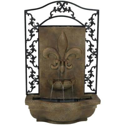 French Lily Resin Florentine Stone Solar Outdoor Wall Fountain