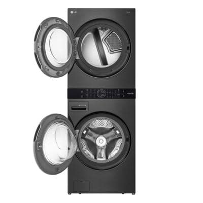 27 in. Black Steel WashTower Laundry Center with 4.5 cu. ft. Front Load Washer and 7.4 cu. ft. Electric Dryer