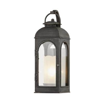 Troy Lighting Derby 29 In 1 Light Aged Pewter Wall Sconce With Clear Seeded Glass B7753 The Home Depot