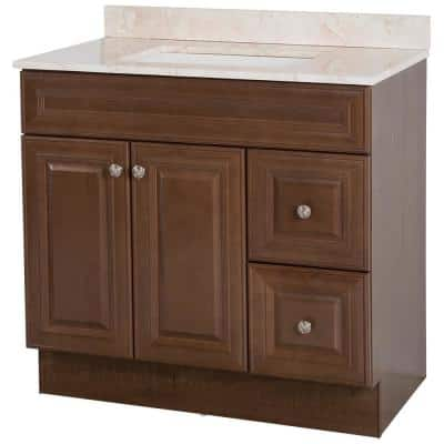 Glensford 37 in. W x 22 in. D Bathroom Vanity in Butterscotch with Stone Effects Vanity Top in Dune with White Sink