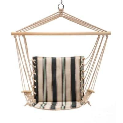 43 in. x 22 in. Hammock Hanging Swing Chair in Black, Green and White Strips