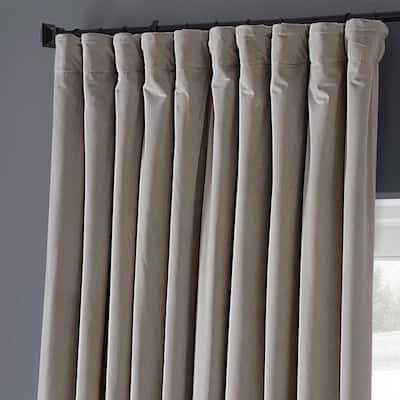 Cool Beige Velvet Rod Pocket Blackout Curtain - 100 in. W x 108 in. L