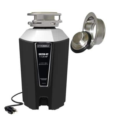 Designer Series 1.25 HP Continuous Feed Garbage Disposal with Brushed Nickel Sink Flange and Attached Power Cord