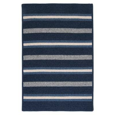Primrose Navy 2 ft. x 3 ft. Braided Oval Area Rug