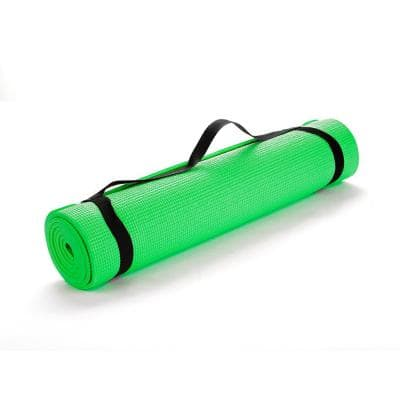 All Purpose Extra Thick Green Fitness & Exercise 24 in. x 68 in. Yoga Mat with Carrying Strap