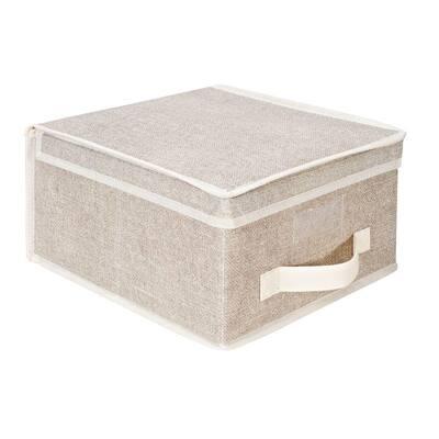 6 in. H x 12 in. W x 11 in. D Beige Plastic Cube Storage Bin