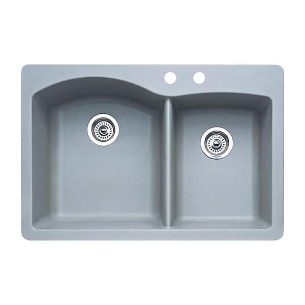 Blanco Diamond Dual Mount Granite 33 In 2 Hole 60 40 Double Bowl Kitchen Sink Metallic Gray 440214 The Home Depot