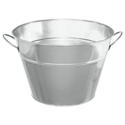10.25 in. H x 15.25 in. W Silver Metal Party Tub