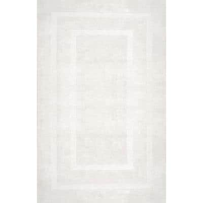 Zamora Solid Ivory 5 ft. x 8 ft.  Area Rug