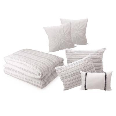 6-Piece White Rhythmic Melody Cotton Queen Comforter Set
