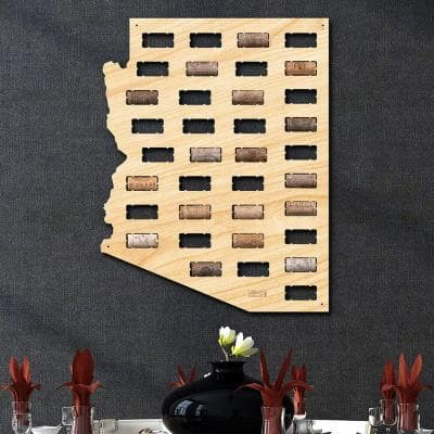 13.75 in. x 17.7 in. Arizona Wine Cork Map