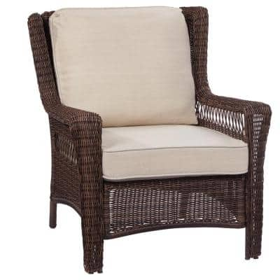 Park Meadows Brown Stationary Wicker Outdoor Lounge Chair with Beige Cushion
