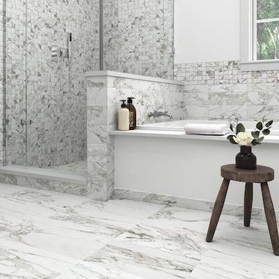 Milton Arabescato Marble 1/2 in. x 12 in. Glazed Ceramic Jolly Trim Tile (0.04 sq. ft./Piece)
