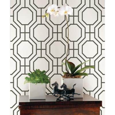 Circuit Black Modern Ironwork Paper Non-Pasted Wallpaper Roll (Covers 56.4 Sq. Ft.)