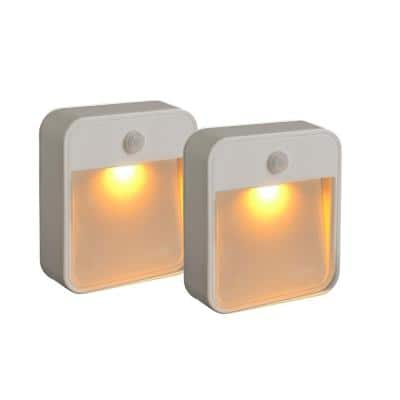 Indoor/ Outdoor Battery Powered Motion Activated Amber Sleep Friendly LED Stick Anywhere Light (2-Pack)