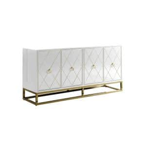 Sjang 64'' High Gloss Lacquer Finish Sideboard, White