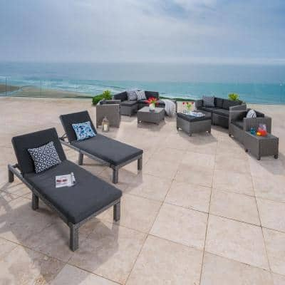 Puerta Dark Grey 13-Piece Wicker Outdoor Sectional Set with Mixed Black Cushions
