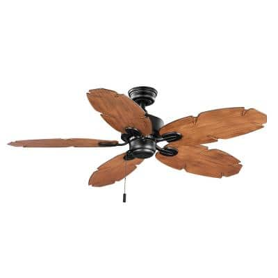 Lillycrest II 52 in. Indoor/Outdoor Matte Black Wet Rated Ceiling Fan with 5 Weather Resistant QuickInstall Blades
