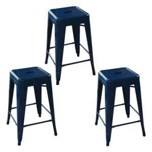 Loft Style 24 in. Blue Stackable Metal Bar Stool (Set of 3)