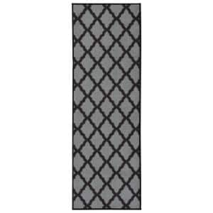 Glamour Collection Contemporary Moroccan Trellis Dark Gray 2 ft. x 5 ft. Kids Runner Rug