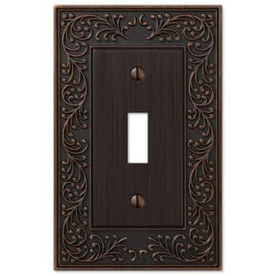 English Garden 1 Gang Toggle Metal Wall Plate - Aged Bronze