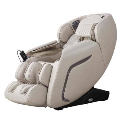 COSMO Taupe Faux Leather Reclining Massage Chair with Voice Recognition and BlueTooth Speakers