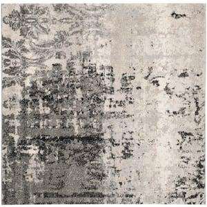 Retro Light Gray/Gray 8 ft. x 8 ft. Square Area Rug