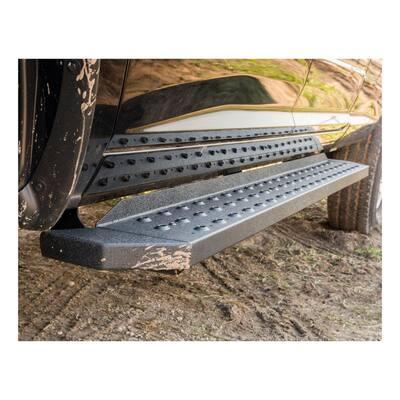 "RidgeStep 6-1/2"" x 85"" Black Steel Running Boards (No Brackets)"