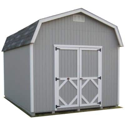 Classic Gambrel 12 ft. x 16 ft. Wood Storage Building Precut Kit with 6 ft. Sidewalls with Floor
