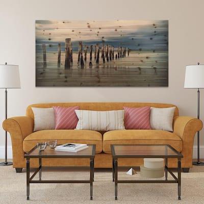 """30 in. x 60 in. """"Low Tide"""" Arte de Legno Digital Print on Solid Wood Wall Art"""