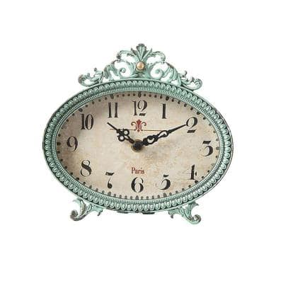 Lily 6.25 in. H x 6.5 in. W Aqua Table Clock
