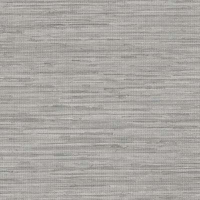 Grasscloth Grey Botanical Vinyl Pre-Pasted Washable Wallpaper Roll (Covers 56 Sq. Ft.)