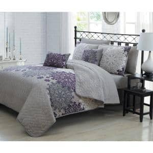 Amber 9-Piece Plum King Quilt Set