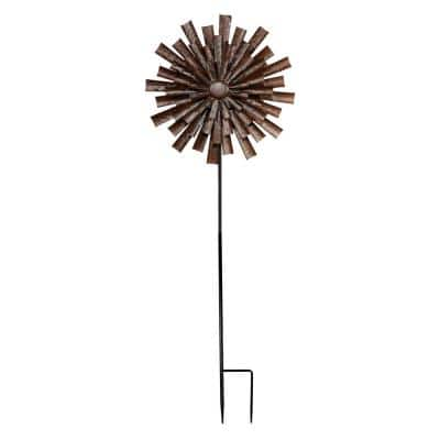 Bronze Floral Kinetic Wind Spinner Stake