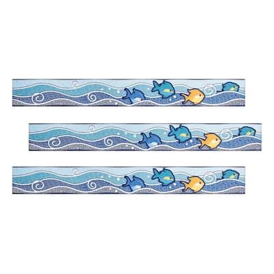 Acapulco 2 in. x 16 in. Blue Multicolor Ceramic Decorative Listello Wall Tile (3-Pack)