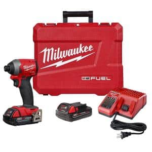 M18 FUEL 18-Volt Lithium-Ion Brushless Cordless 1/4 in. Hex Impact Driver Kit W/(2) 2.0Ah Batteries, Charger, Hard Case