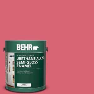 Behr 1 Gal P150 5 Kiss And Tell Urethane Alkyd Semi Gloss Enamel Interior Exterior Paint 393001 The Home Depot