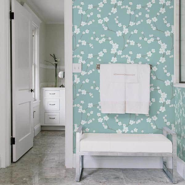 A Street Prints Sakura Turquoise Floral Paper Strippable Wallpaper Covers 56 4 Sq Ft 2764 24324 The Home Depot