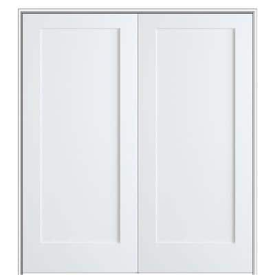 Shaker Flat Panel 64 in. x 80 in. Both Active Solid Core Primed Composite Double Prehung French Door w/ 6-9/16 in. Jamb