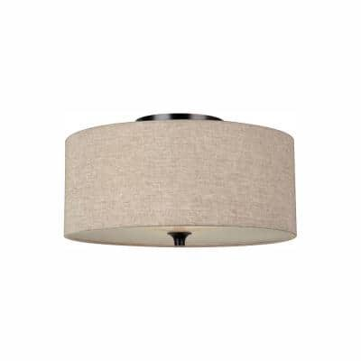 Stirling 2-Light Burnt Sienna Flush Mount with LED Bulbs