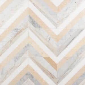 Chelsea Beige 8 in. x 8 in. Polished Marble Mosaic Tile (0.43 sq. ft / Each)