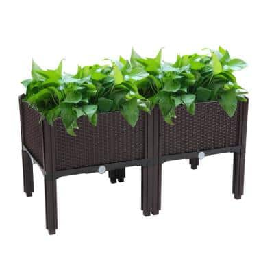 15 in. W x 10 in. H Brown Plastic Raised Garden Bed (2-Pack)