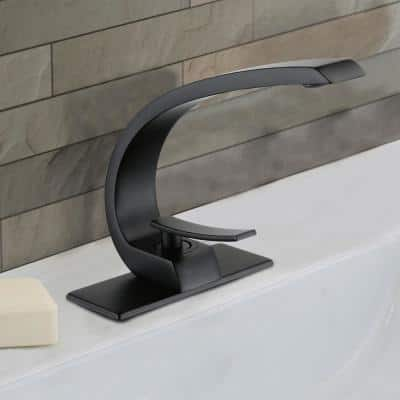 Single Hole Single-Handle Bathroom Faucet with Deck Plate and Supply Line in Matte Black