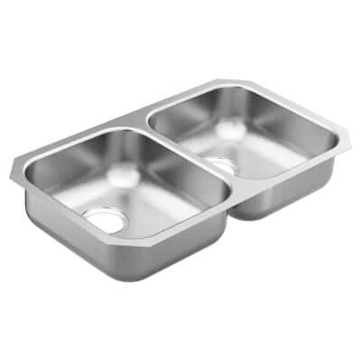 2000 Series Stainless Steel 31.75 in. Double Bowl Undermount Kitchen Sink with 5.5 in. Depth