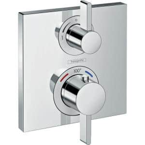 Ecostat Square 2-Handle Shower Trim Kit in Chrome Valve Not Included