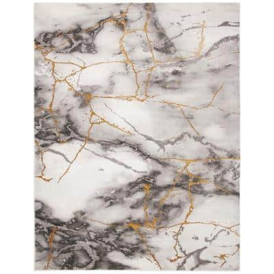 Craft Gray/Gold 9 ft. x 12 ft. Distressed Abstract Area Rug