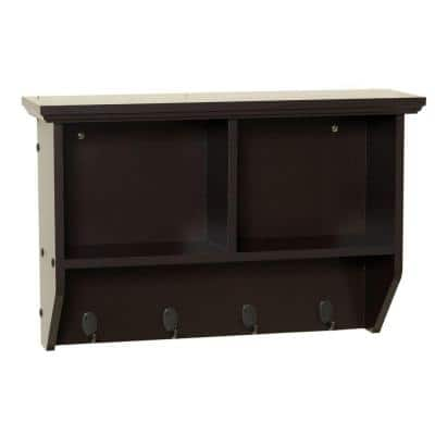 Collette 23 in. W Wall Cubby Shelf in Espresso