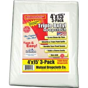 4 ft. x 15 ft. Triple Coated Butyl Drop Cloth White the Original Paint Stopper (3-Pack)