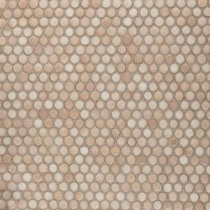 Hudson Penny Round Truffle 12 in. x 12 in. Porcelain Mosaic Tile (10.74 sq. ft. / Case)